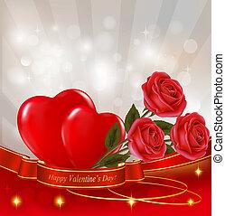 cœurs, résumé, fond, rouges