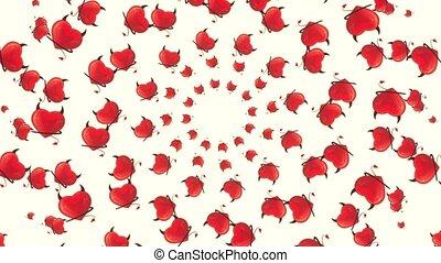 cœurs, résumé, voler, blanc rouge