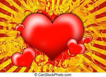 cœurs, rouges, illustration
