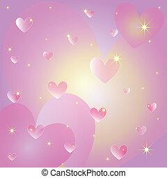 cœurs, rue, carte voeux, valentin
