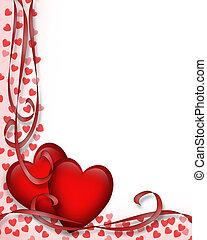 cœurs, valentines, frontière, jour, rouges