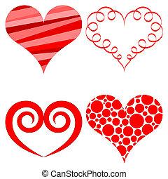 cœurs, vecteur, ensemble