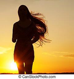 c, femme, beauté, liberté, nature., gratuite, girl, apprécier, outdoor., heureux