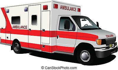 c, sur, ambulance, moderne, white., fourgon