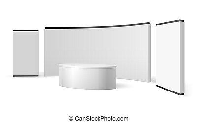 cabine, exposition, display., isolé, commercer, vecteur, exposition, gabarit, vide, stand., blanc, promotionnel, événement, panneau, 3d