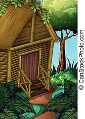 cabine, forêt bois, profond