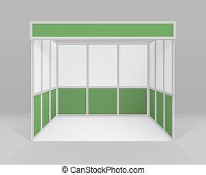 cabine, intérieur, isolé, commercer, vecteur, vert, stand, fond, vide, blanc, norme, présentation, exposition