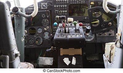 cabine, pilot's, abandonnés, hélice, intérieur, petit avion