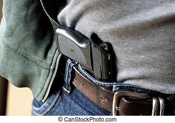 caché, pistolet, ceinture
