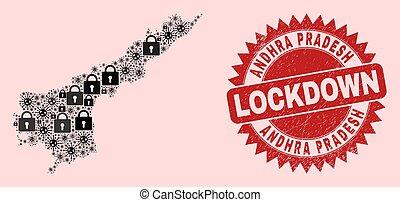 cachet, état, viral, lockdown, andhra, timbre, pradesh, serrures, mosaïque, articles, gratté, carte