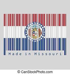 cachet, bleu, amérique, barcode, drapeau, missouri, blanc, couleur, entouré, missouri., stars., bande, etats, rouges, text:, ensemble, fait, color.