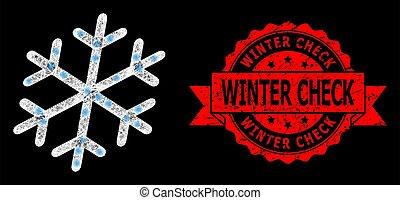 cachet, clair, lightspots, maille, flocon de neige, hiver, chèque, gratté, polygonal