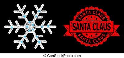 cachet, claus, clair, maille, lightspots, santa, flocon de neige, toile, gratté