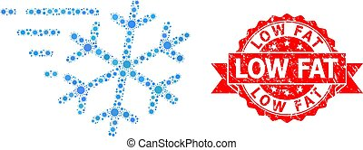 cachet, coronavirus, bas, mosaïque, détresse, gelée, vent, graisse