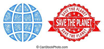 cachet, détresse, sauver, icône, réseau, globe, planète