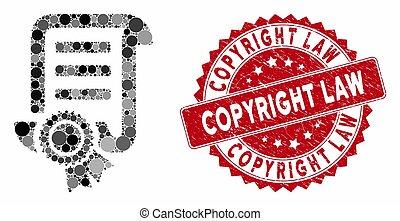 cachet, droit d'auteur, collage, grunge, droit & loi, brevet