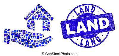 cachet, terre, foyer bleu, offre, gratté, main, mosaïque