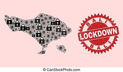 cachet, viral, lockdown, bali, serrures, mosaïque, articles, gratté, carte