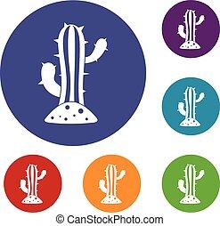 cactus, ensemble, icônes