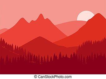 cactus, paysage, collines, nature, horizontal, silhouettes., désert, montagnes, fond, vecteur