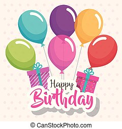 cadeau, air, anniversaire, heureux, ballons, carte, célébration