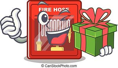 cadeau, brûler, dessin animé, forme, cabinet, tuyau