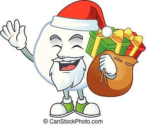 cadeau, caractère, dessin animé, boule de neige, conception, sac, santa