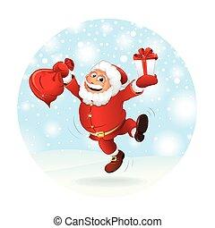 cadeau, claus, illustration, vecteur, santa, heureux
