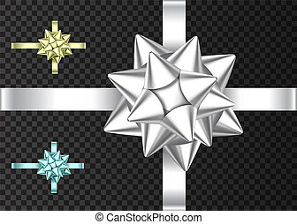 cadeau, doré, argent, ruban, bow., bleu, décoratif