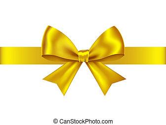 cadeau, doré, ruban, nouvel an, noël, arc, decoration.