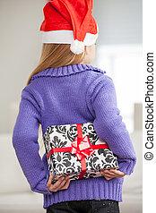 cadeau, dos, derrière, santa, girl, chapeau, noël, dissimulation
