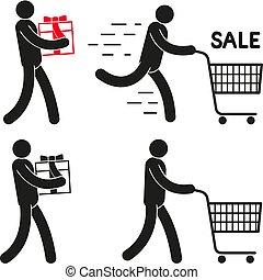 cadeau, gens, charrette, achats, pictogramme, sale.