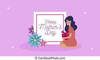 cadeau, lettrage, mères, maman, jour, heureux