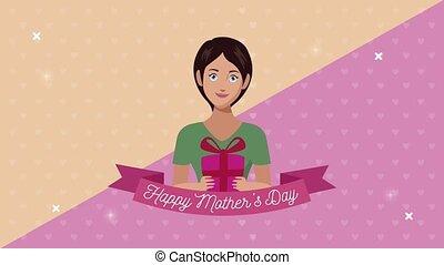 cadeau, lettrage, ruban, mères, maman, jour, heureux