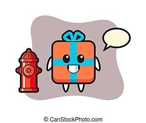 cadeau, mascotte, pompier, boîte, caractère