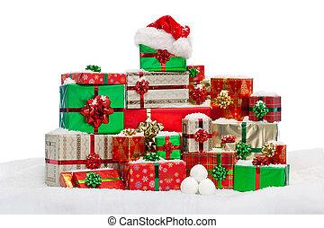 cadeau, neige, présents noël, emballé, pile