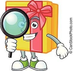cadeau, oeil, détective, boîte, jaune, une, style, caractère, dessin animé