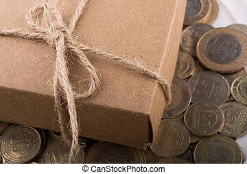 cadeau, turc, côté, lire, pièces, boîte