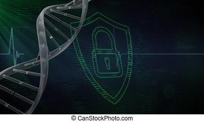 cadenas, 3d, numérique, adn, vert, gène