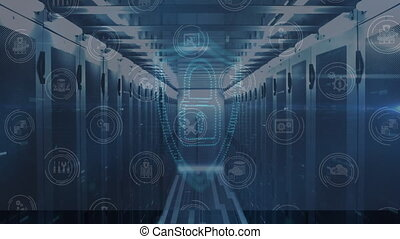 cadenas, bleu, numérique, premier plan, icônes
