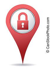 cadenas, emplacement, rouges, icône