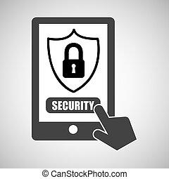 cadenas, graphique, smartphone, protection données