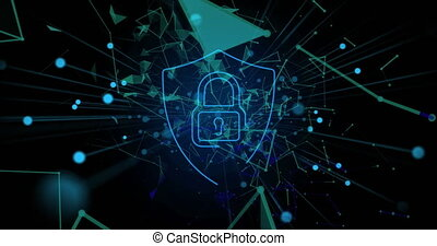 cadenas, plexus, noir, sécurité, icône, contre, sur, réseaux, fond