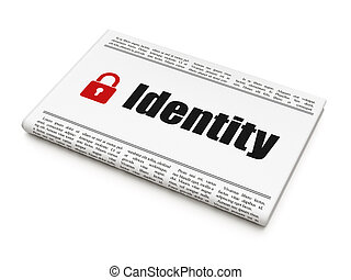 cadenas, protection, concept:, fermé, journal, identité
