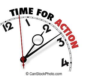 cadran, mots, temps, action, blanc, sien