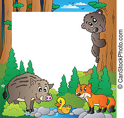 cadre, 2, thème, forêt