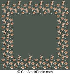 cadre, arrière-plan., kaki, mignon, araignés, faces, américain, vide, vector., template., sud, carrée, singes, buisson, cercles, dessin animé, blanc, nez, lièvres, africaine