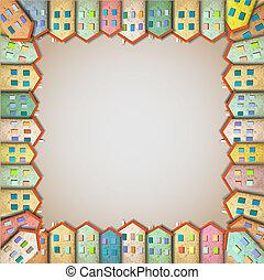 cadre, coloré, maisons