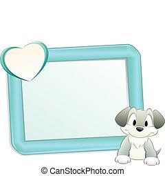 cadre, dessin animé, chien