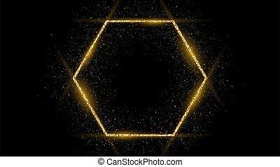 cadre, doré, hexagone, scintillement